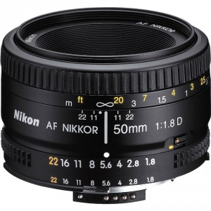 8. Nikon AF FX NIKKOR 50mm f:1.8D Fixed Zoom Lens with Auto Focus for Nikon DSLR Cameras